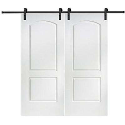 60 in. x 80 in. Primed Molded MDF Caiman Barn Door with Sliding Door Hardware Kit