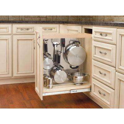 25.5 in. H x 8 in. W x 22.5 in. D Pull-Out Wood Base Cabinet Organizer with Stainless Steel Panel