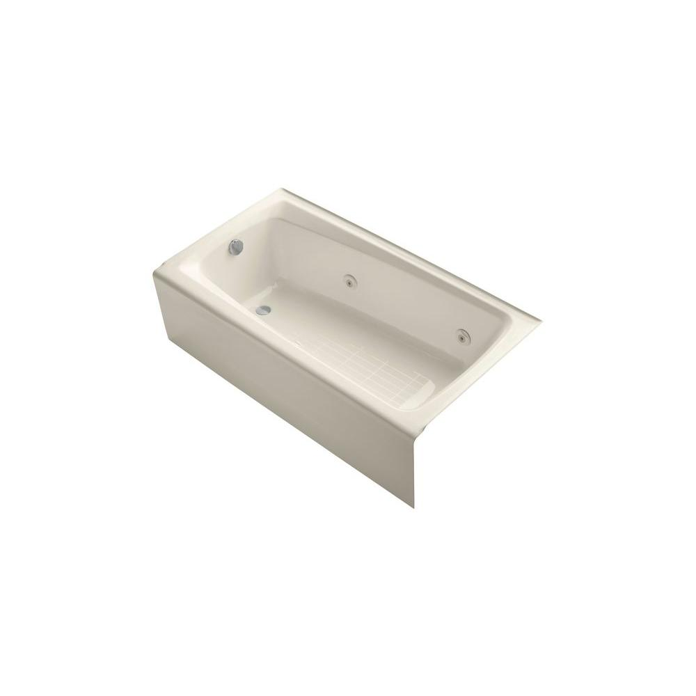 KOHLER Mendota 5 ft. Whirlpool Tub with Left Drain in Almond-DISCONTINUED