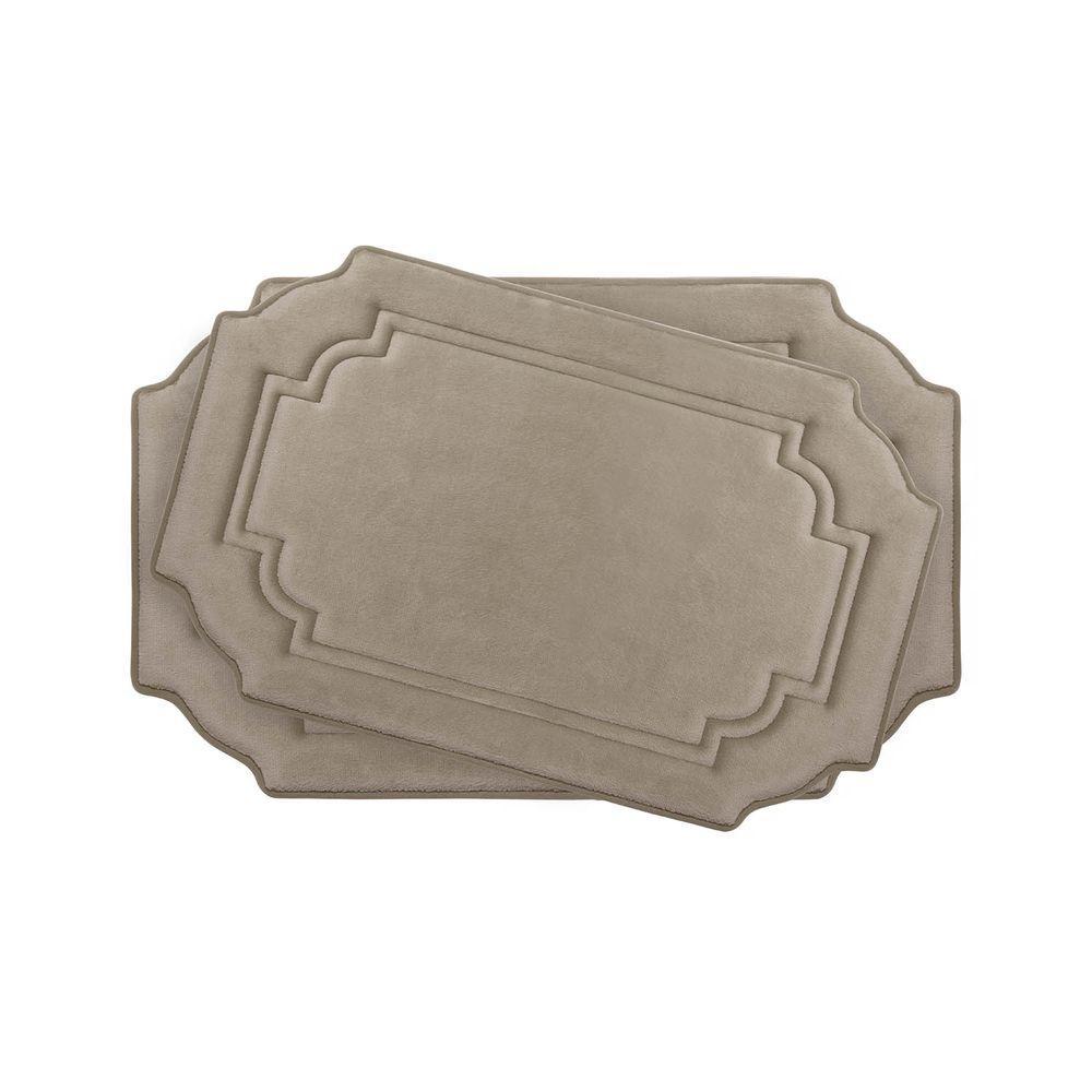 Bouncecomfort Calypso Linen Memory Foam 2 Piece Bath Mat