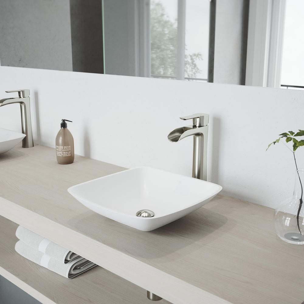 VIGO Hyacinth Matte Stone Vessel Sink in White with Niko Vessel Faucet in Brushed Nickel by VIGO