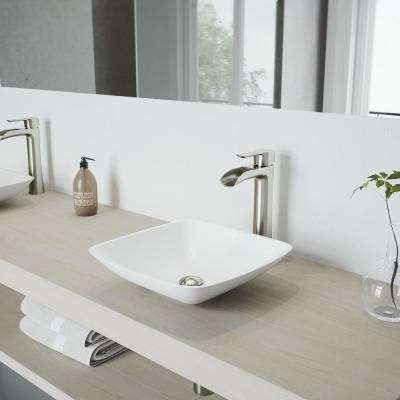 Hyacinth Matte Stone Vessel Sink In White With Niko Faucet Brushed Nickel