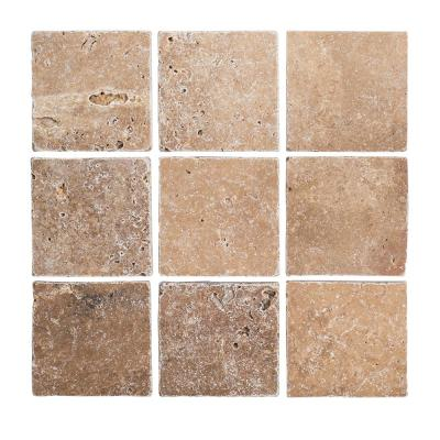 Travertino Noce Browns/Tans 4 in. x 4 in. Tumbled Travertine Wall and Floor Tile (1 sq. ft. / Pack)