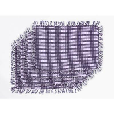 Homespun Fringed Marine 100% Cotton Placemat (Set of 4)