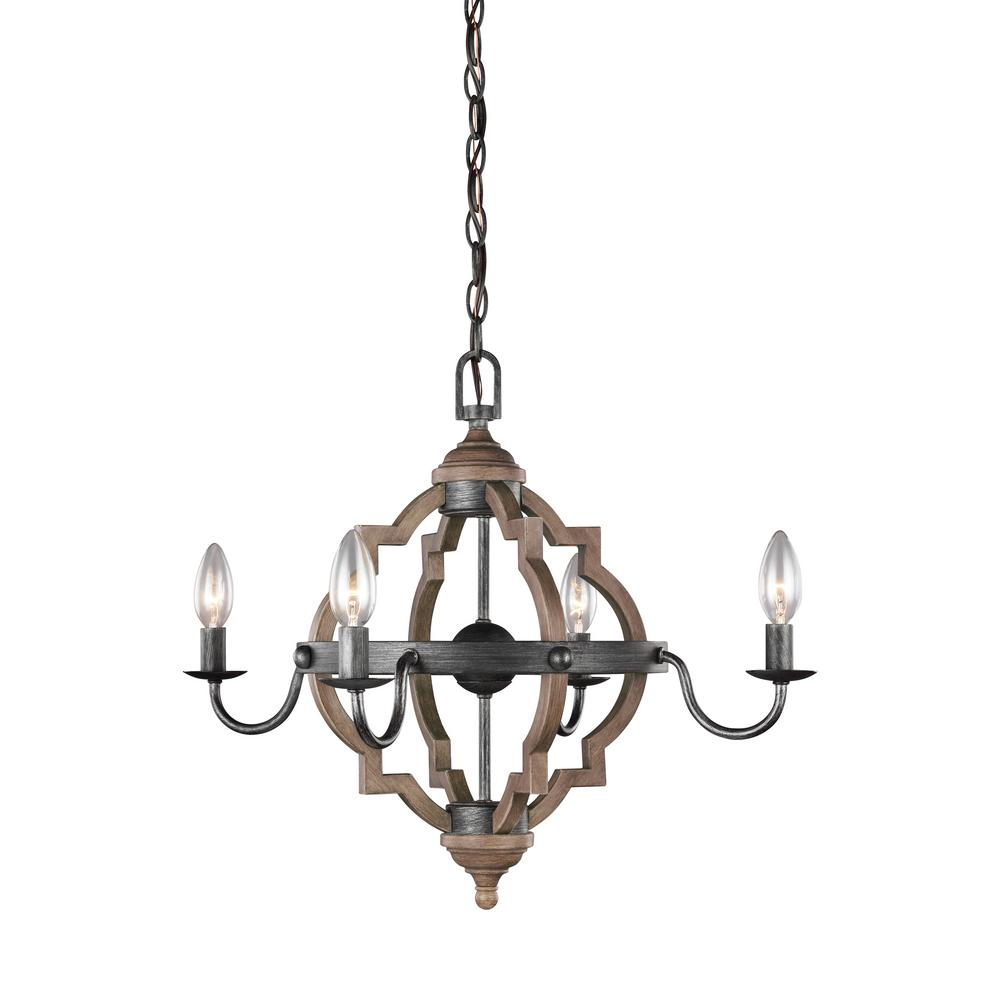 Sea Gull Lighting Socorro 22 in. W. 4-Light Weathered Gray and Distressed Oak Chandelier