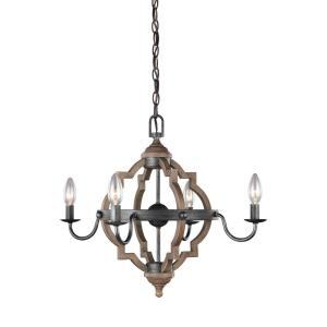 Socorro 22 in. W. 4-Light Weathered Gray and Distressed Oak Chandelier