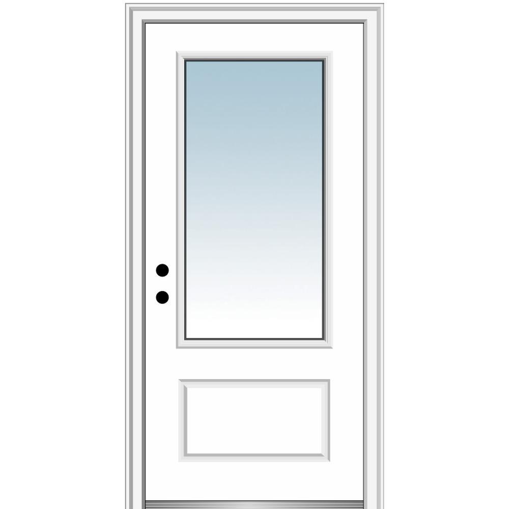 MMI Door 36 in. x 80 in. Right-Hand Inswing 3/4-Lite Clear 1-Panel Classic Primed Fiberglass Smooth Prehung Front Door