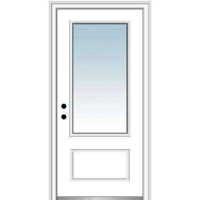 36 in. x 80 in. Right-Hand Inswing 3/4-Lite Clear 1-Panel Classic Primed Fiberglass Smooth Prehung Front Door