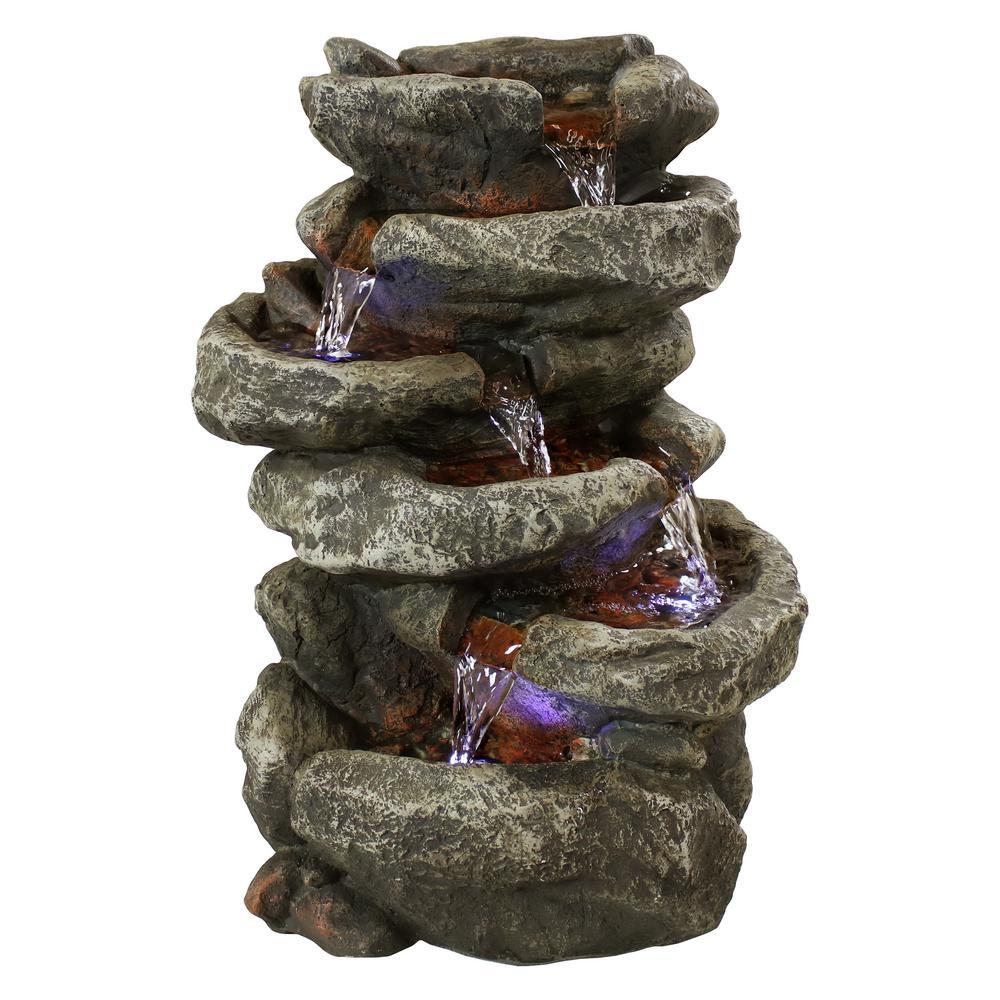 Sunnydaze Decor 15 In 6 Tier Stone