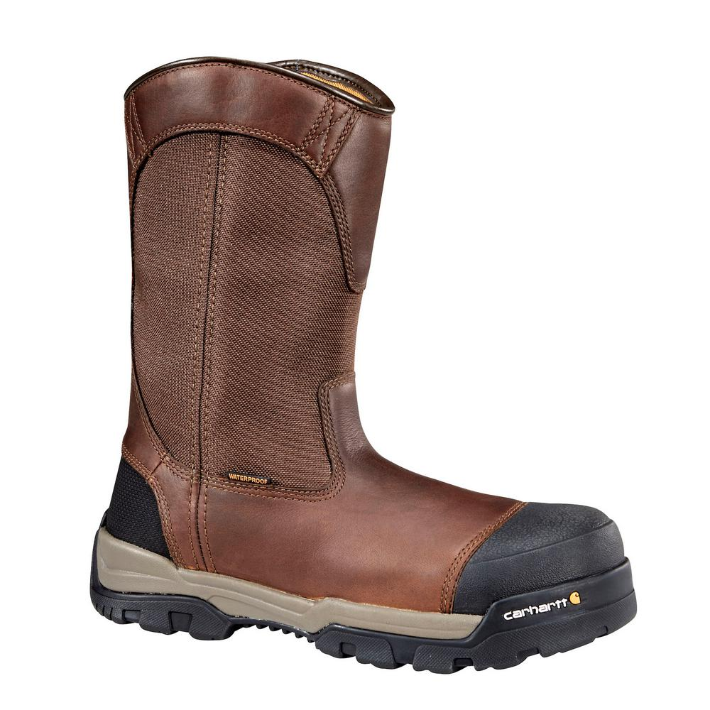Carhartt Ground Force Men's 13W Brown Leather Waterproof Composite Safety Toe 10 in. Pull-On Work Boot