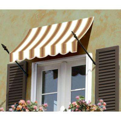 18 ft. New Orleans Awning (31 in. H x 16 in. D) in White/Linen/Terra cotta Stripe