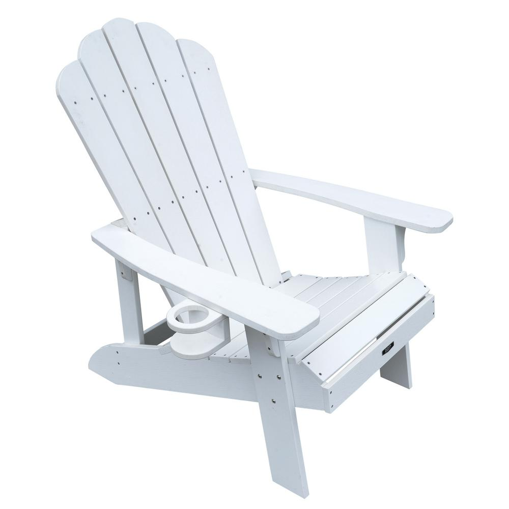 Island Retreat Plastic Adirondack Chair in White