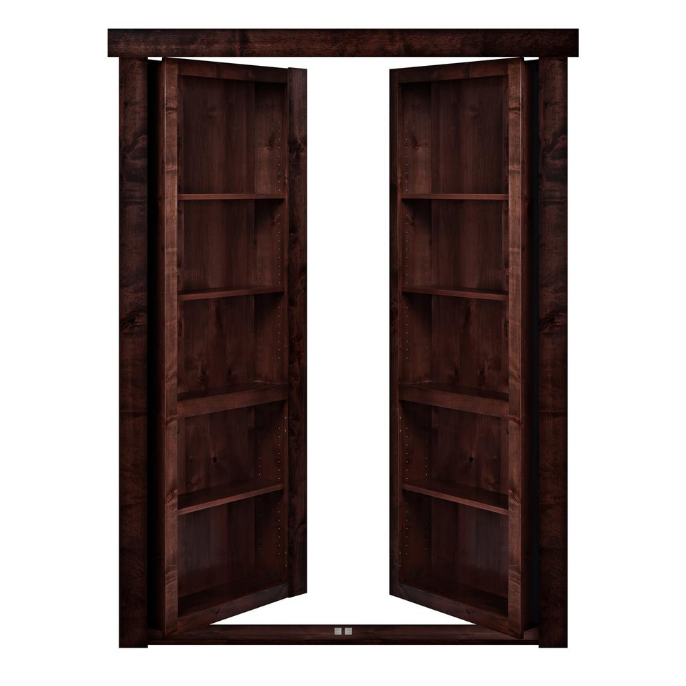 The Murphy Door 48 in. x 80 in. Flush Mount Assembled Alder Dark Stained Out-Swing Solid Core Interior French Bookcase Door