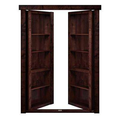 48 in. x 80 in. Flush Mount Assembled Alder Dark Stained Out-Swing Solid Core Interior French Bookcase Door