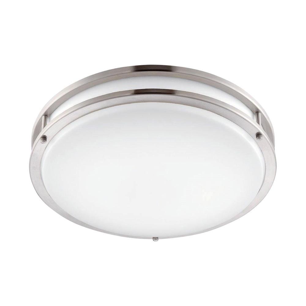 quality design d7847 d2775 EnviroLite 10 in. Brushed Nickel/White LED Ceiling Low-Profile Flush Mount