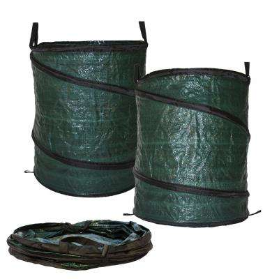 30 Gal. Collapsible Reusable Pop Up Lawn Garden Leaf Bag Trash Can (2-Pack)