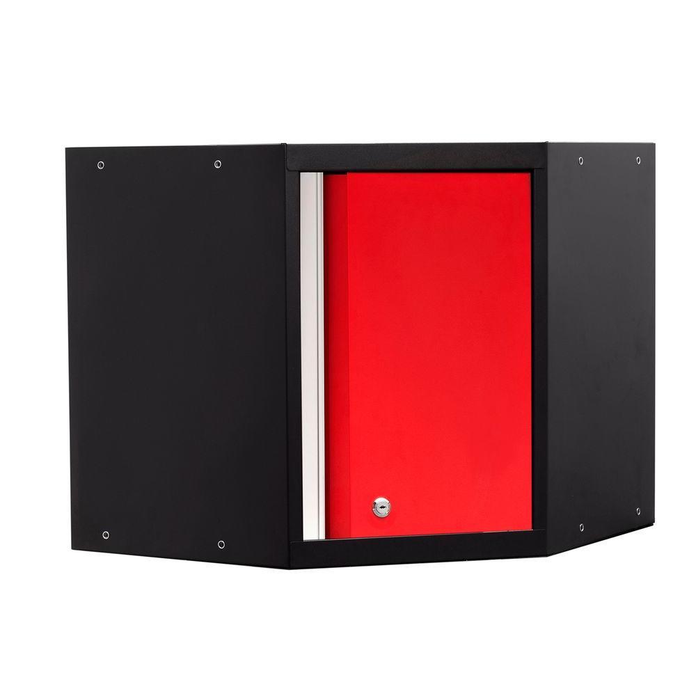 Pro 3 Series 23-1/2 in. H x 24 in. W x 24 in. D 18-Gauge Welded Steel Corner Wall Cabinet in Red
