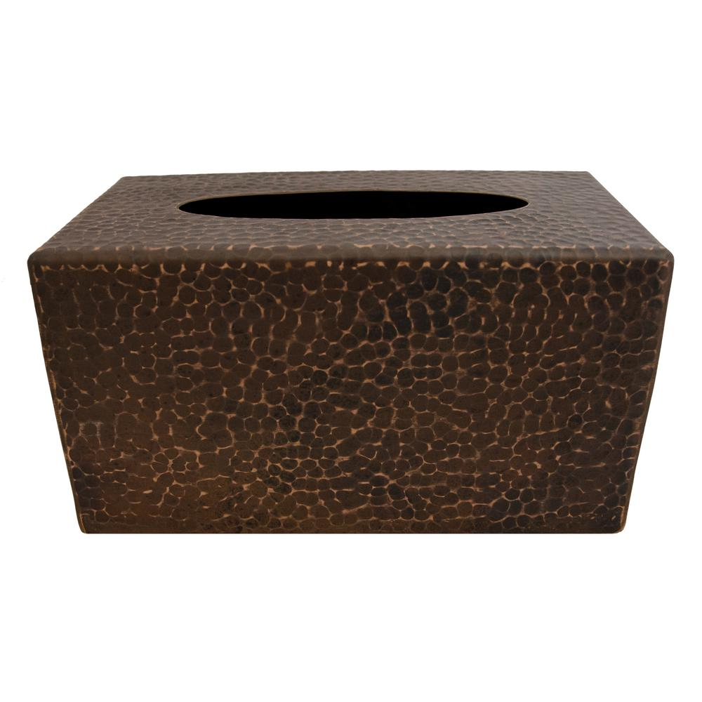 Premier Copper Products Large Hand Hammered Copper Tissue Box Cover in Oil Rubbed Bronze