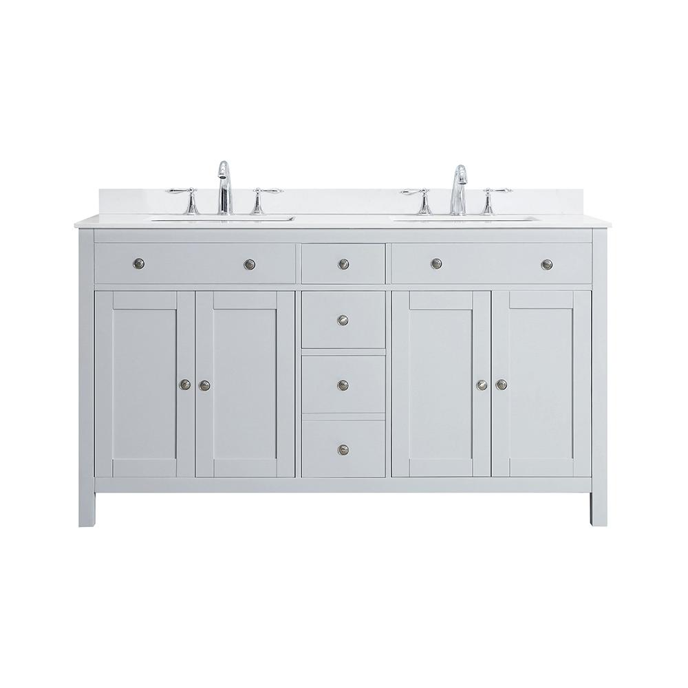 Home Decorators Collection Austen 60 In W X 22 In D Bath Vanity In Dove Grey With Marble Vanity Top In Yves White With White Sinks