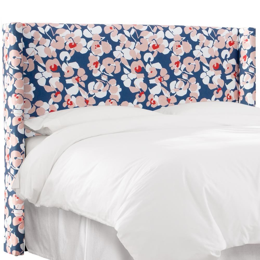 Ryann Color Block Floral Navy Blush Queen Wingback Headboard