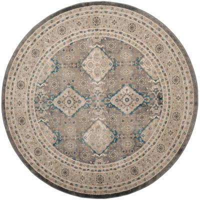 Sofia Light Gray/Beige 6 ft. 7 in. x 6 ft. 7 in. Round Area Rug