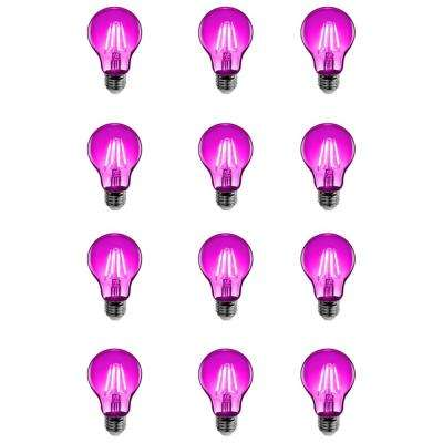25W Equivalent Pink-Colored A19 Dimmable Filament LED Clear Glass Light Bulb (Case of 12)
