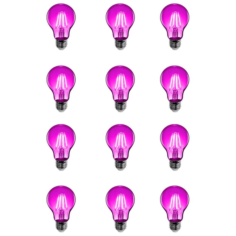 Feit Electric 25-Watt Equivalent A19 Medium E26 Base Dimmable Filament Pink Colored LED Clear Glass Light Bulb (12-Pack)