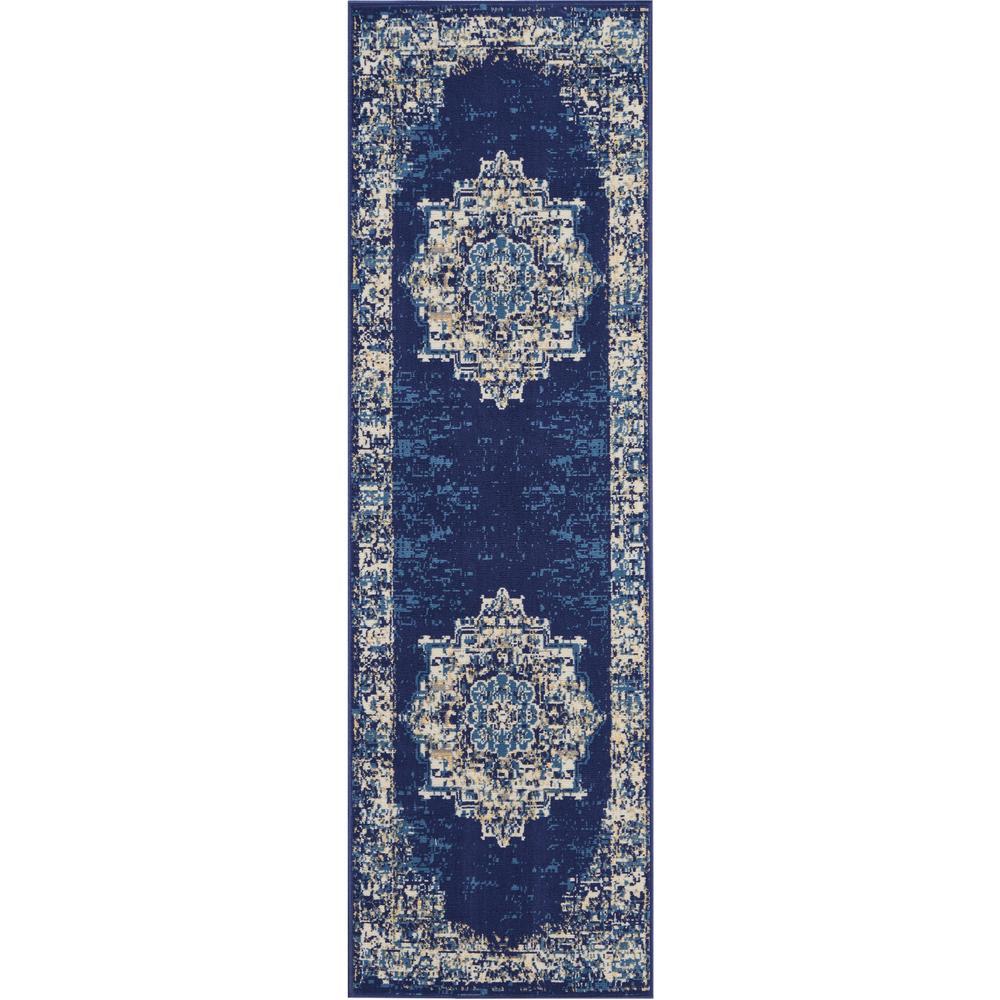 Grafix 2' x 8' Runner Blue Persian Hallway Area Runner