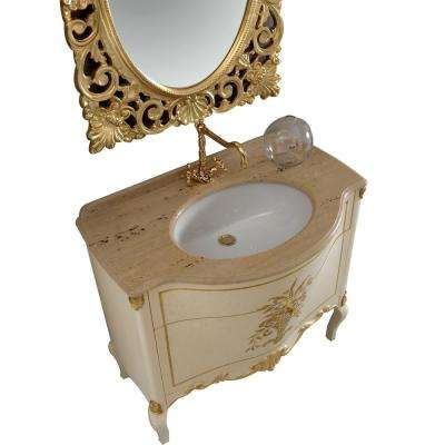 Monaco 36.5 in. W x 22 in. D Vanity in Gold with Solid Oak Wood Vanity Top in Chrome with Gold Basin