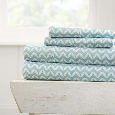 Puffed Chevron Patterned 4-Piece Light Blue King Performance Bed Sheet Set