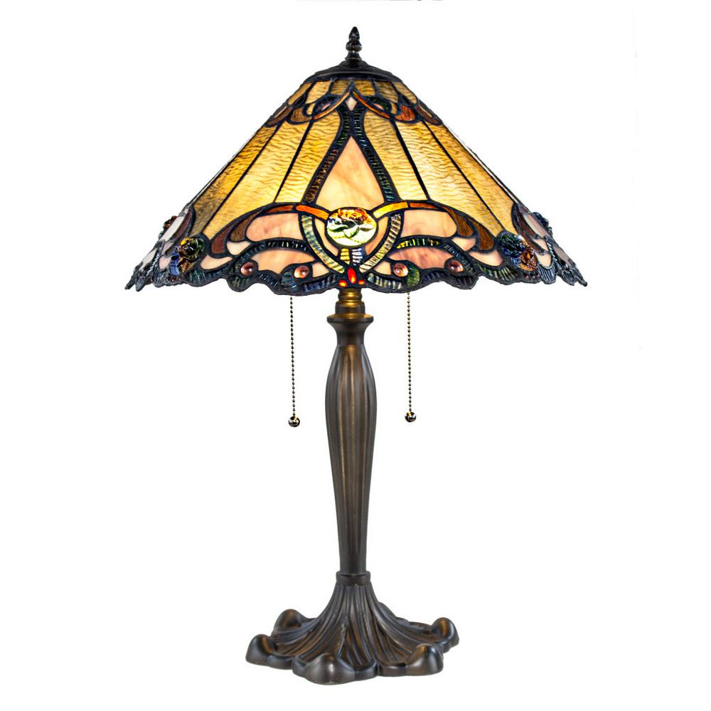 Amber Table Lamp With Stained Glass Brandi Shade
