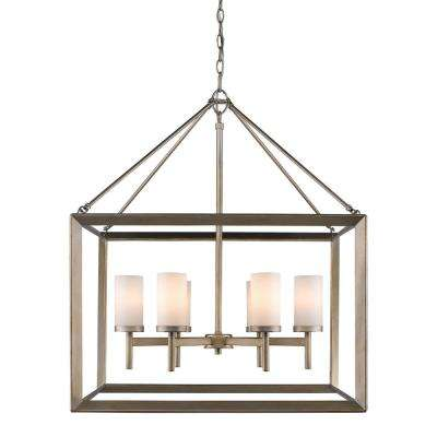 Smyth 6-Light White Gold Chandelier with Opal Glass Shades