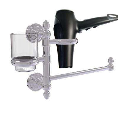 Dottingham Collection Hair Dryer Holder and Organizer in Polished Chrome