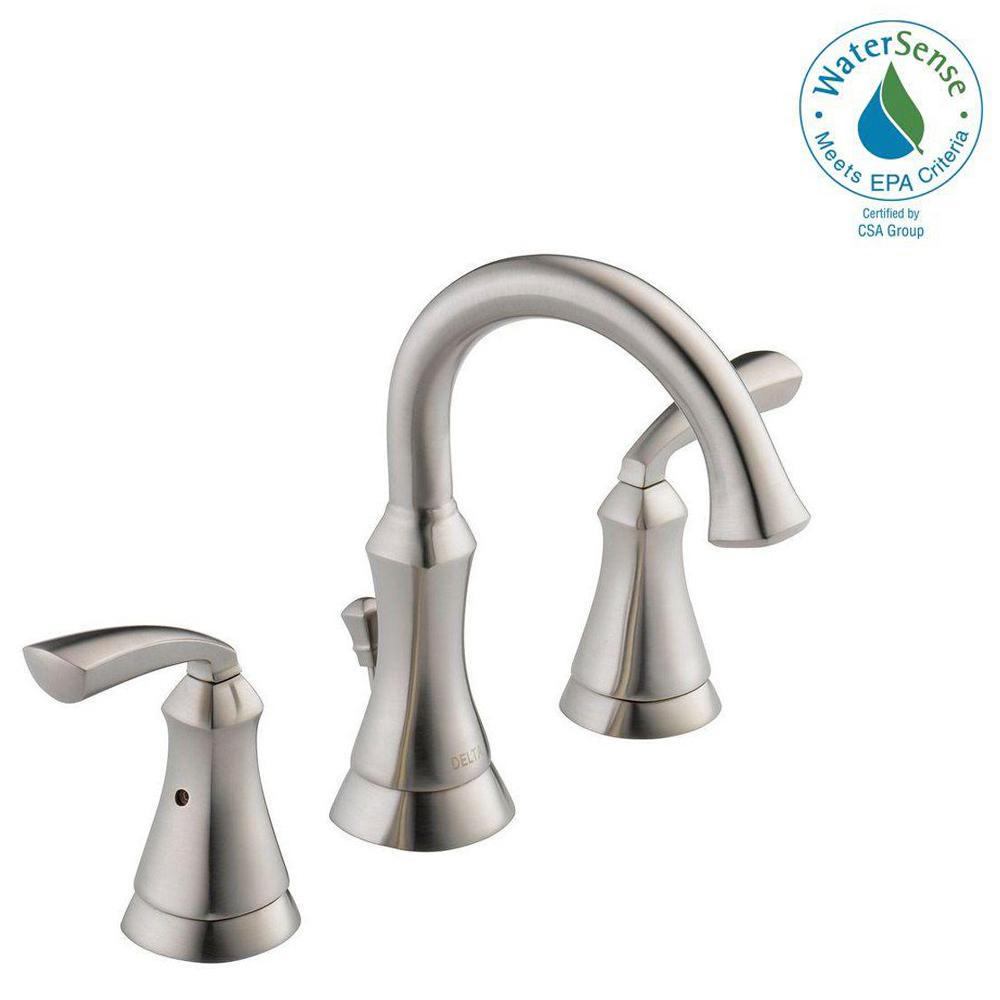 Delta mandara 8 in widespread 2 handle bathroom faucet in stainless 35962lf ss eco the home depot for Delta widespread bathroom faucet