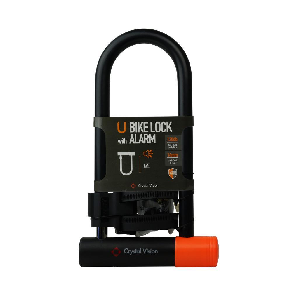 14 mm Heavy-Duty Weatherproof Bike U Lock with Mount Holder Loud 130db and Alarm Feature