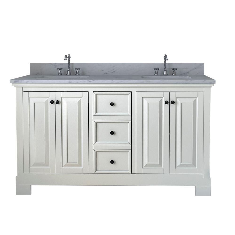 Richmond 60 in. W x 22 in. D Double Vanity in White with Marble Vanity Top in White with White Basi