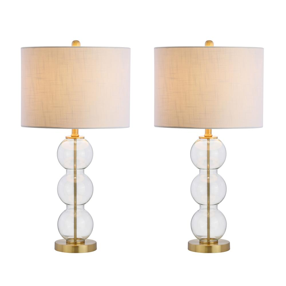 Jonathan Y Bella 27 In Clear Brass Glass Triple Sphere Table Lamp