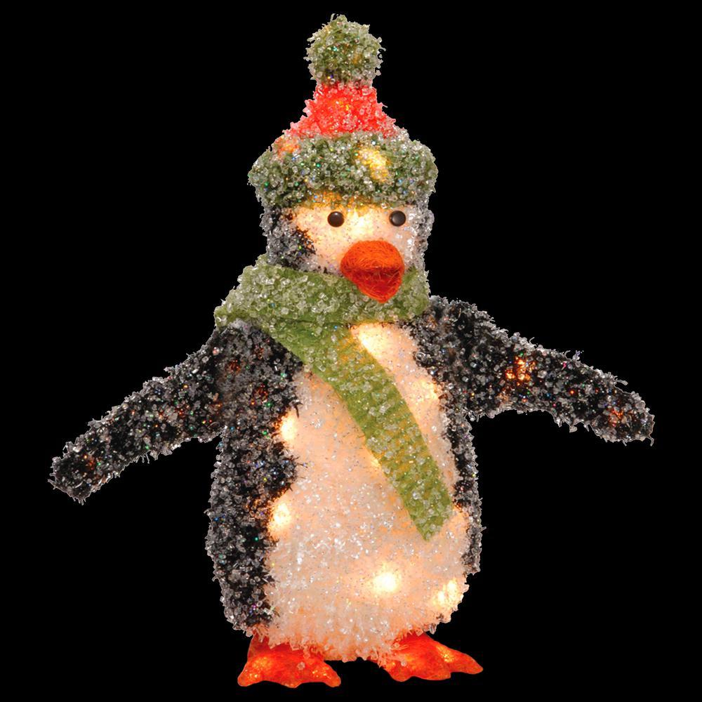Pre-Lit 18 in. Tinsel Penguin