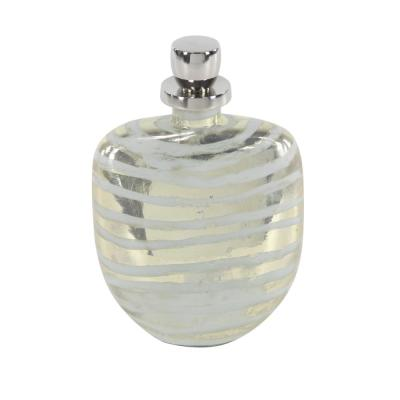 Gold and Silver Glass and Aluminum Decorative Bottle with Stripe Pattern, 8.25 in. L x 12.35 in. H