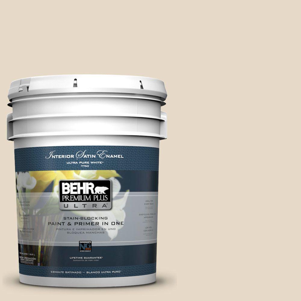 BEHR Premium Plus Ultra 5 gal. #23 Antique White Satin Enamel Interior Paint