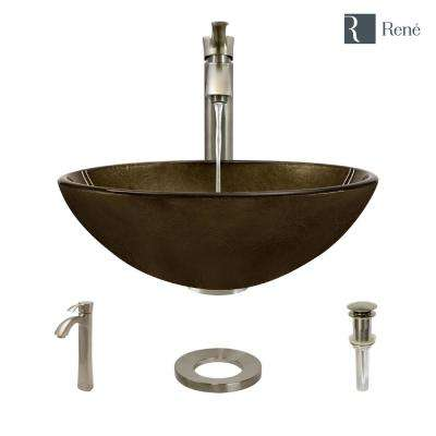 Glass Vessel Sink in Regal Bronze and Earth Tones with R9-7006 Faucet and Pop-Up Drain in Brushed Nickel