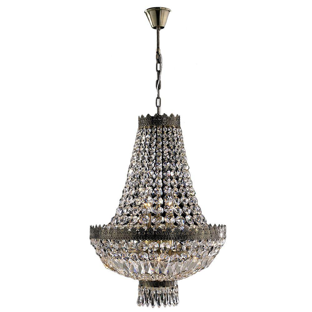 Worldwide Lighting Metropolitan 6-Light Antique Bronze Crystal Chandelier - Worldwide Lighting Metropolitan 6-Light Antique Bronze Crystal