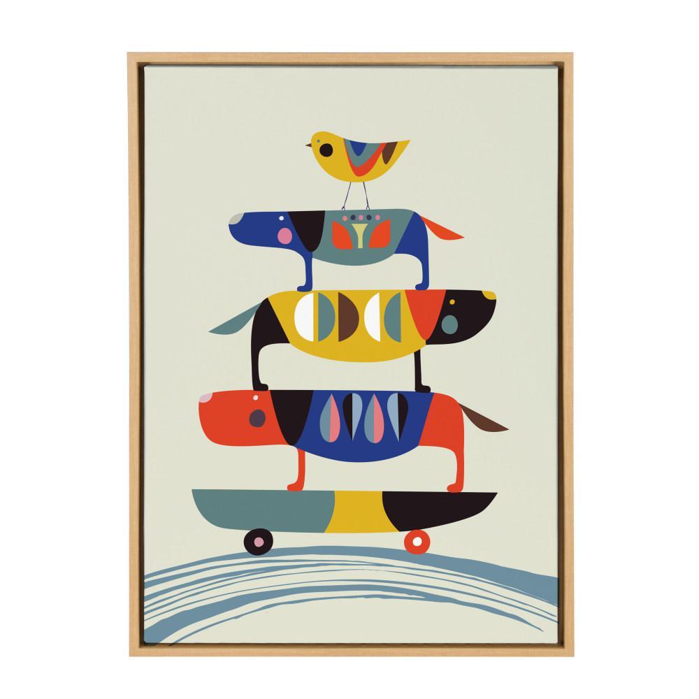"""Sylvie """"Skate Dog"""" by Rachel Lee Framed Canvas Wall Art"""