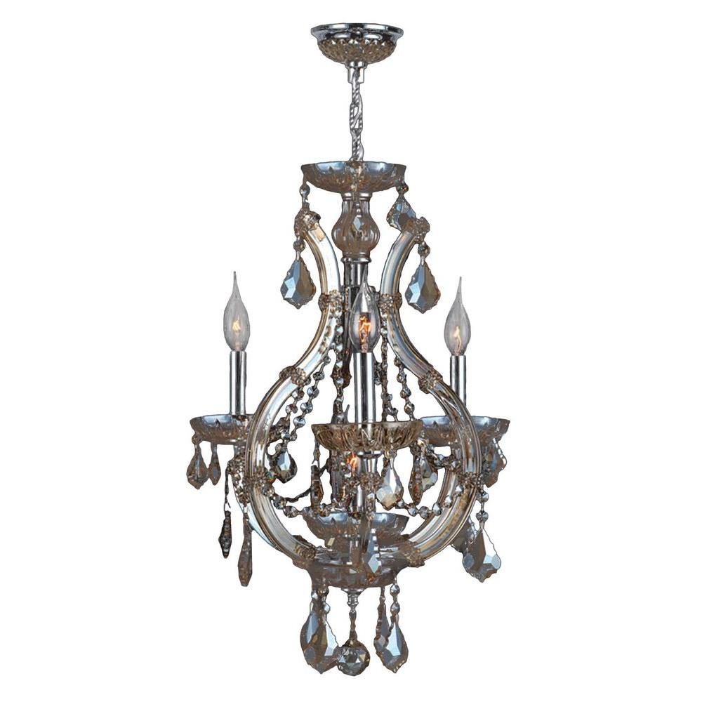 Lyre Collection 4-Light Polished Chrome and Golden Teak Crystal Chandelier
