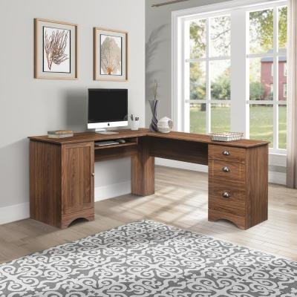 66 in. Modern Brown L-Shaped Corner Computer Desk
