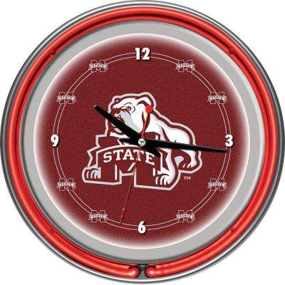 14 in. Mississippi State University Neon Wall Clock