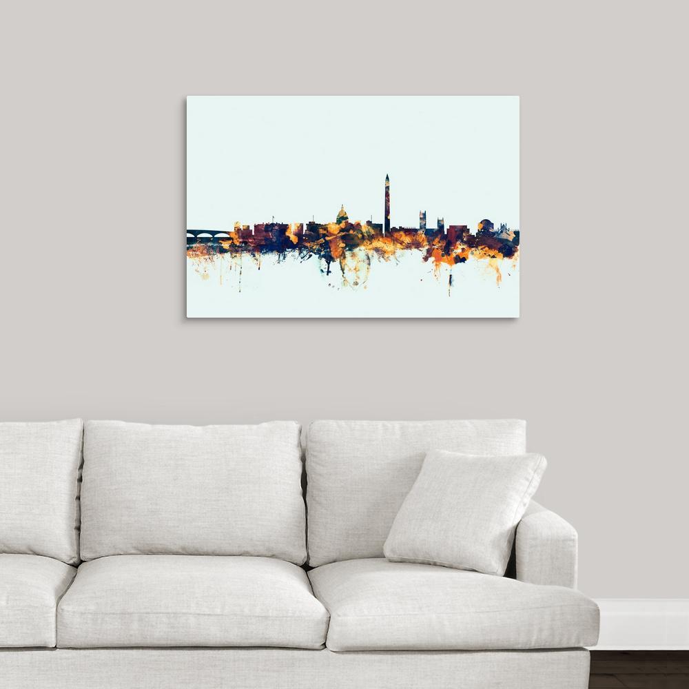 Washington Dc Skyline By Michael Tompsett Canvas Wall Art 2448389 24 36x24 The Home Depot