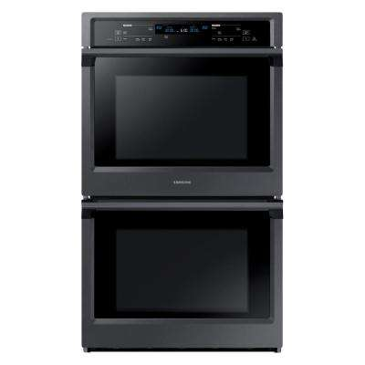 30 in. Double Electric Wall Oven Self-Cleaning with Steam Cooking and True Convection in Black Stainless
