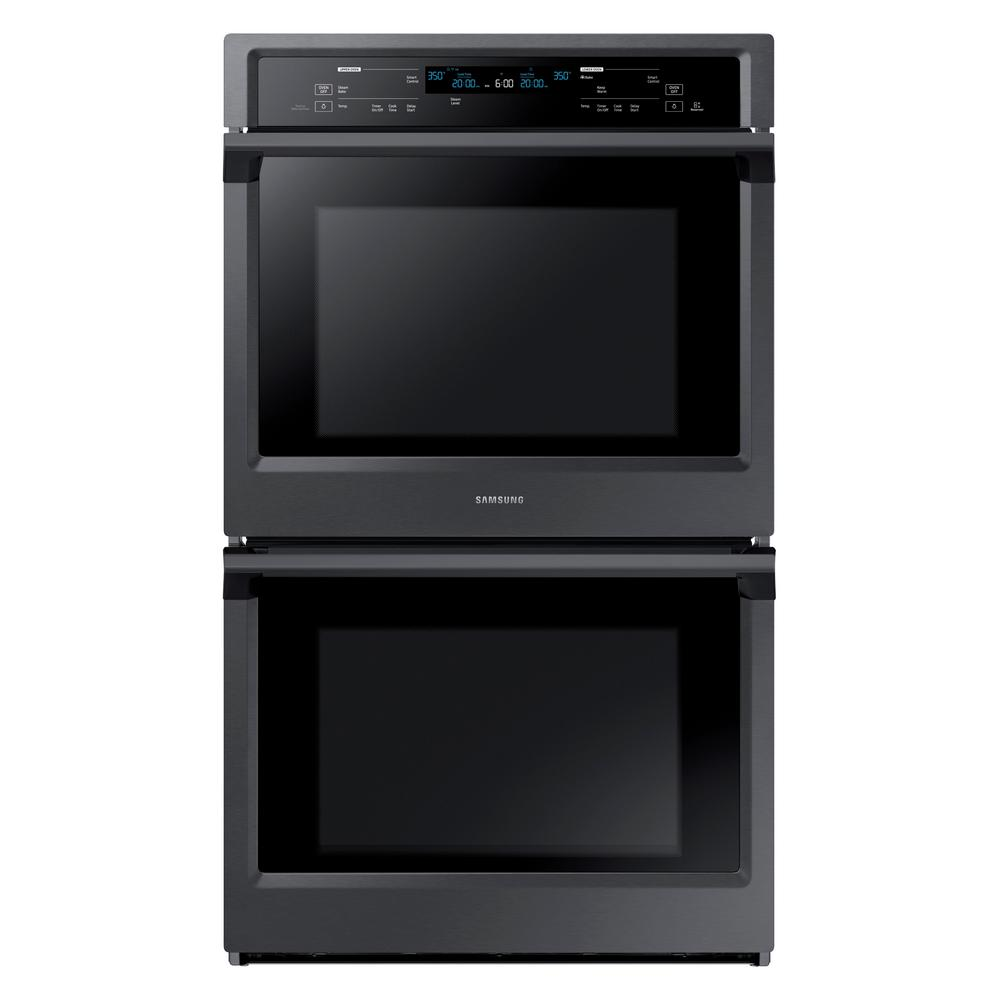 Samsung 30 in. Double Electric Wall Oven with Steam Cook and Dual Convection in Black Stainless Steel