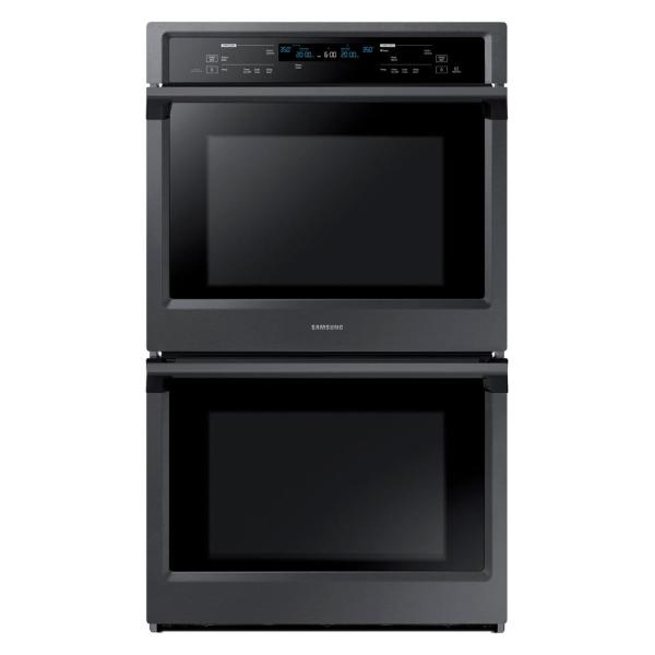 30 in. Double Electric Wall Oven with Steam Cook and Dual Convection in Black Stainless Steel